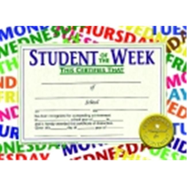 Hayes 8.5 x 11 in. Student Of The Week Certificate, Pack 30