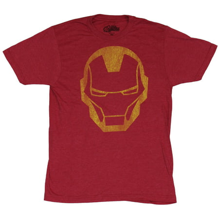 Iron Man (Marvel Comics) Mens T-Shirt - Distressed Iron Man Face Image (Iron Man Armour For Sale)