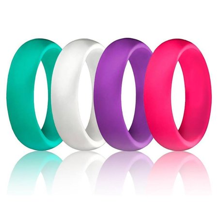 4 PCS Silicone Rubber Cheap Lightweight Wedding Ring Band Sports for Women (Size 5, - Cheap Wedding Accessories