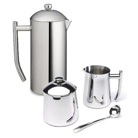 Frieling Ultimo 36 Oz Stainless Steel French Press, Cream ; Sugar Bowl Gift Set