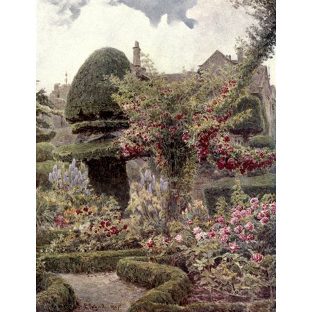 Gardens of England in the Northern Counties 1911 Rose Garden at Levens Hall Westmoreland Canvas Art - George S Elgood (18 x 24)