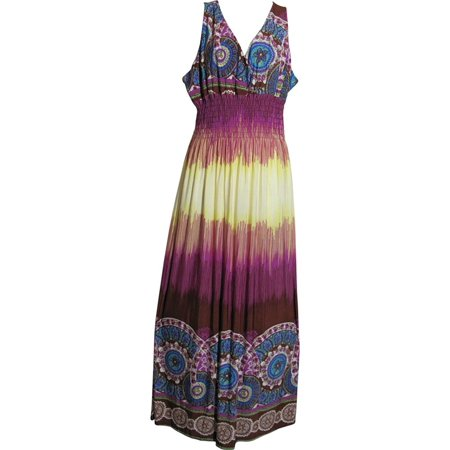 Plus Border Print Smocked Waist Sleeveless Silk Blend Long Maxi Dress Purple - 4XL - Silk Smocked Dress