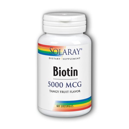 Solaray Biotin 5000 mcg Lozenges, Tangy Fruit, 60 Ct