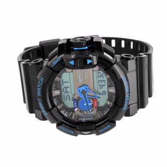 Black Blue Sports Watch Designer Shock Resistant New Mens Digital Analog Steel