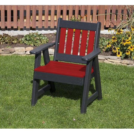 Bright Red 2 FT POLY LUMBER MISSION Poly Resin Heavy Duty EVERLASTING PolyTuf HDPE AMISH CRAFTED Patio Chair ()