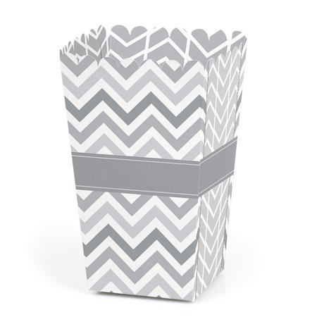 Chevron Gray - Baby, Bridal Shower or Birthday Party Favor Popcorn Treat Boxes - Set of 12 - Vintage Bridal Shower Favors