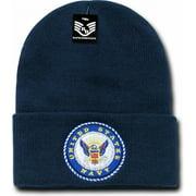 RapDom Navy Emblem Military Long Cuff Mens Beanie [Navy Blue]