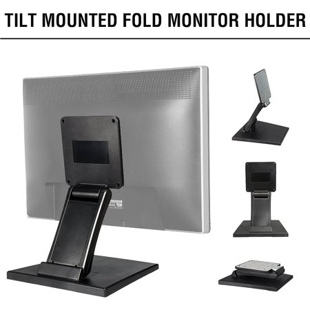 Grtsunsea Tilt Mounted Fold Monitor Holder VESA 10''-27'' LCD Display Touch Screen Stand Features: 100% new and high quality Stand fixture for secure mounting of your touchscreen, POS, or PC monitors Flexible adjustable for monitors from 10 inch to 27 inch Sturdy design with a clad metal frame and two solid rotate joints Suitable for VESA 100x100mm & 75x75mmstand or wall mounting Allrounder mount for almost all applications: control monitors, POS systems, POS systems, Keyboard text displays, exhibition demonstrations or as a support for monitoring monitors Specifications: Material: Plastic Colour: Black Holder panel size: 205x65x10mm Metal frame: 125x125mm Overall Height: 300mm Max loading capacity: 10kg Suitable for 10 -27  Touchscreen Comply with VESA standard 75mm and100mm hole distance Notice: -Due to the different monitor,the picture may not reflect the actual color of item. Thank for your understanding. -Please allow 1-2mm differs due to manual measurement. Package Included: