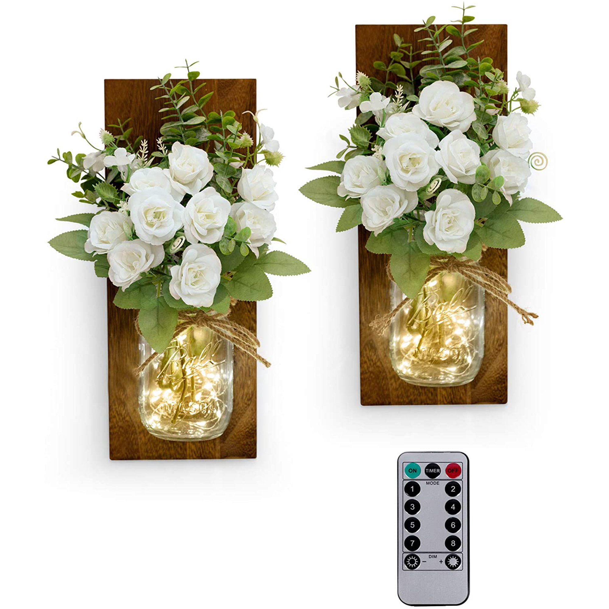 Gogeu Rustic Mason Jar Wall Sconce With String Led Lights Farmhouse Wall Decor For Bedroom Living Room Bathroom Two Remote Controls White Rose Bouquet Set Of 2 Walmart Canada