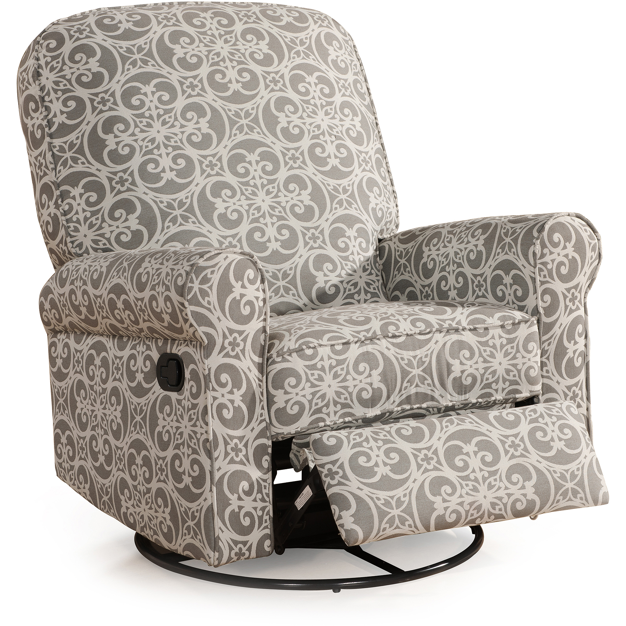 Home Meridian International Ashewick Swivel Glider Recliner Doodles Ash, Gray