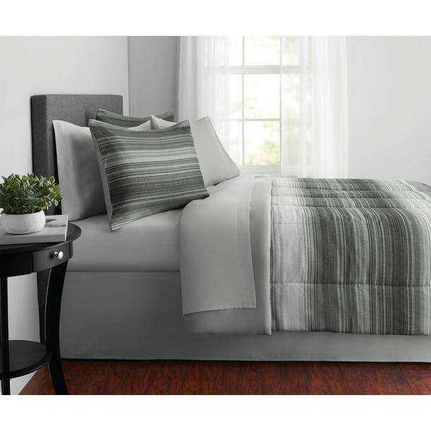 Mainstays Grey Ombre 8-Piece Bed in a Bag Bedding Set w/BONUS Sheet Set + Pillows, Queen