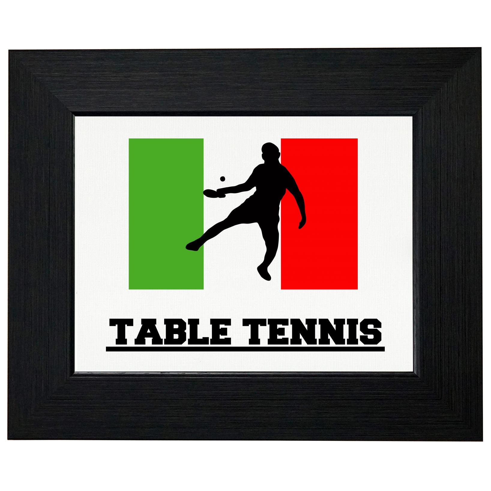 Italy Olympic Ping Pong Flag Silhouette Framed Print Poster Wall or Desk Mount Options by Royal Prints