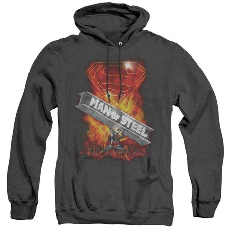 Trevco Sportswear SM1967-AHH-2 Superman & Steel Girder Adult Heather Hoodie, Black - Medium