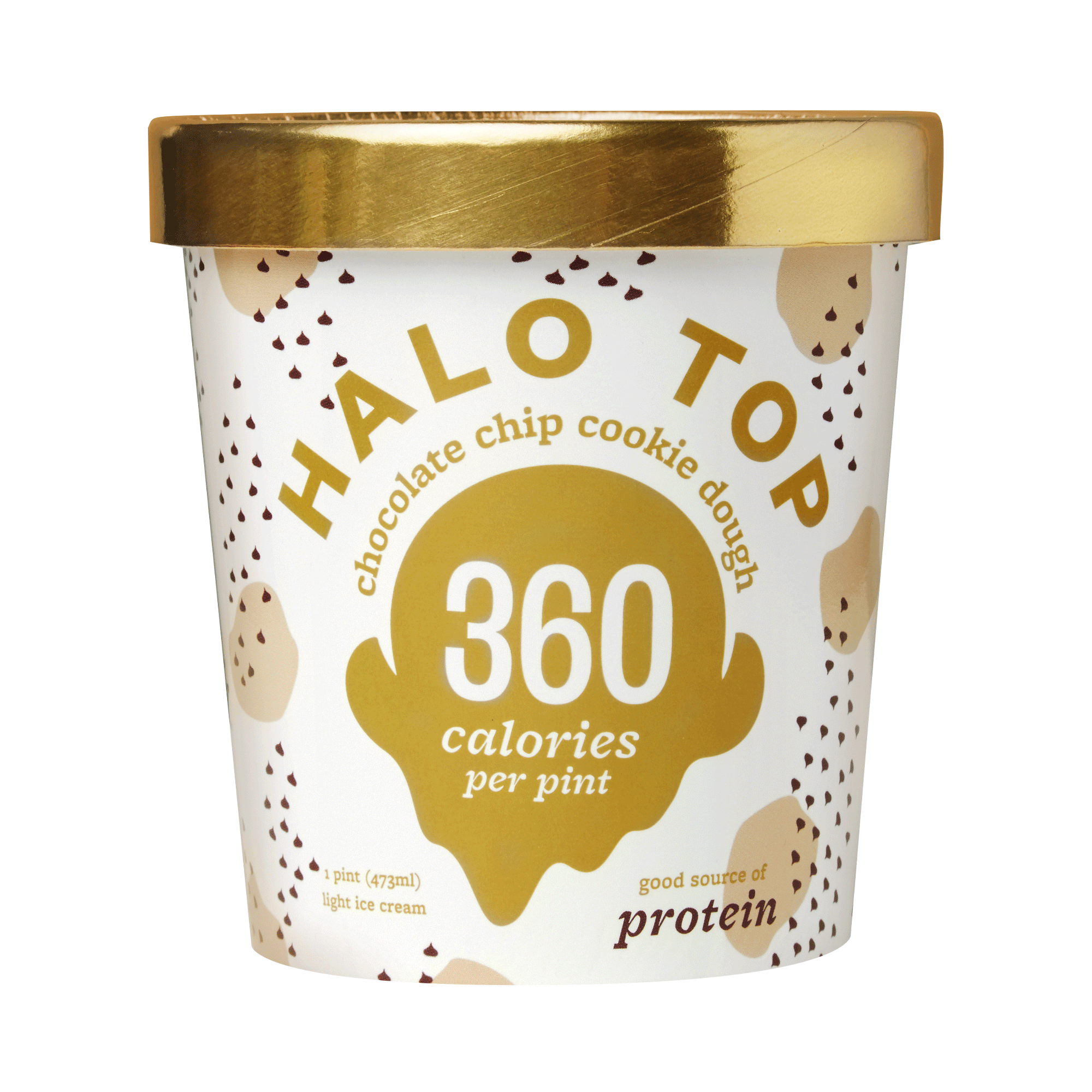 Halo Top Chocolate Chip Cookie Dough Ice Cream, 1 pint