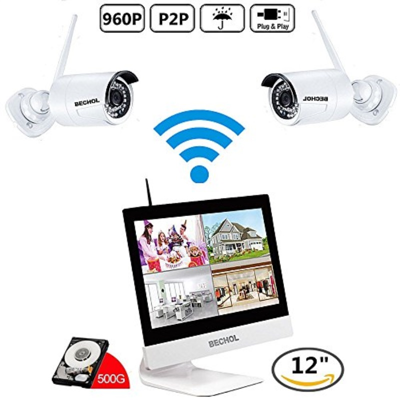 Bechol 1080HD Wireless Security Surveillance IP Camera System 4CH WiFi NVR with 12'' LCD Monitor,2pcs Waterproof Video Inputs Security Camera 100ft Night Vision+500GB HDD+UL Adapter
