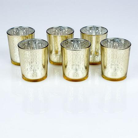 Renaissance Six Light - Fantado Renaissance Votive Tea Light Glass Candle Holder - Gold (2.5 Inches) (6 Pack) by PaperLanternStore