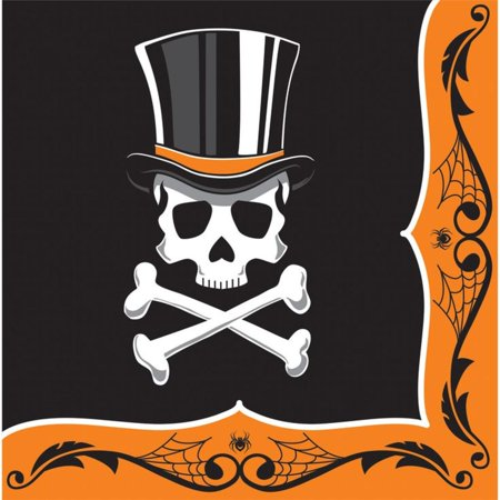 Club Pack of 192 Top Hat Terror Orange and Black Halloween Skull 2-Ply Lunch Napkins 6.5