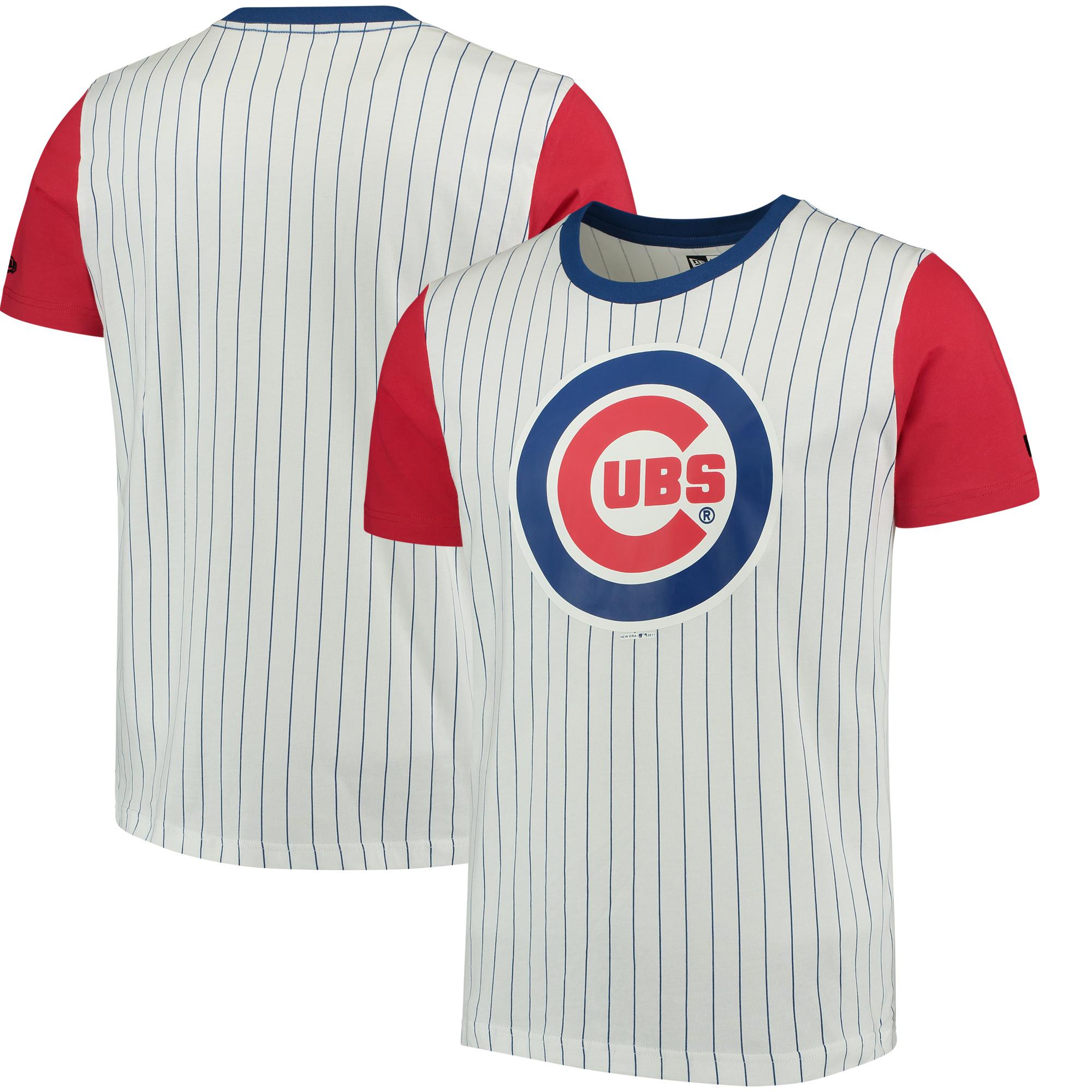 Chicago Cubs New Era Pinstripe Baseball T-Shirt - White/Red