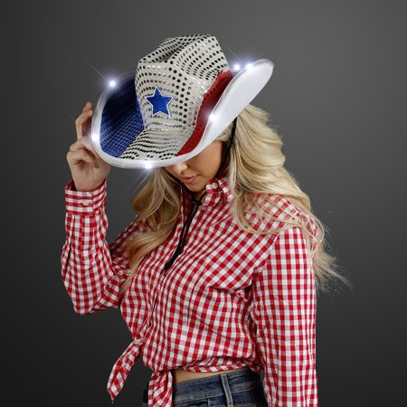 FlashingBlinkyLights Red White & Blue Cowboy Hat with White Light Up Brim - Red White And Blue Cowboy Hat