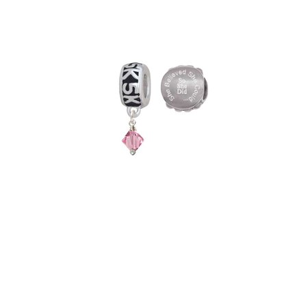 Pink - 6mm Crystal Bicone 5K Run She Believed She Could Charm Beads (Set of 2)