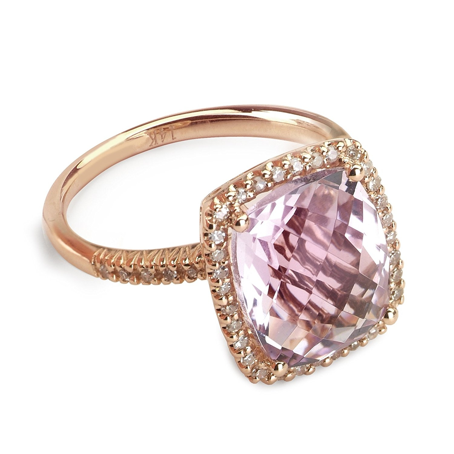 14k White Gold Square Diamond Ring with Pink Amethyst Stone .13 Ct Diamonds H-I Color SI2-I1 Clarity by Quality Jewels
