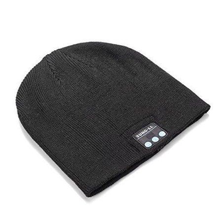 sung-ll soft and warm hat wireless beanie with bluetooth smart cap speaker micro headphone (black)