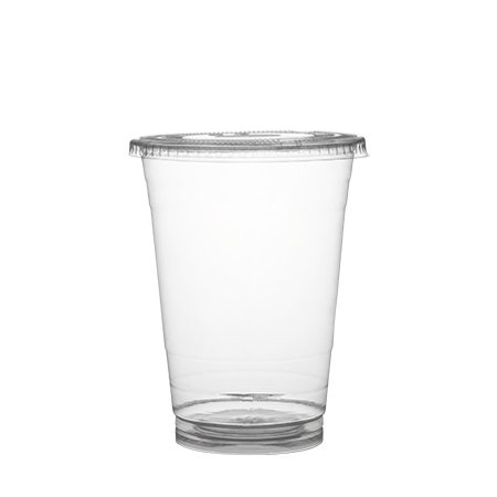 Plastible 16 oz Clear Disposable Plastic Cups with lids (Pack of 100) Recyclable Drinkware