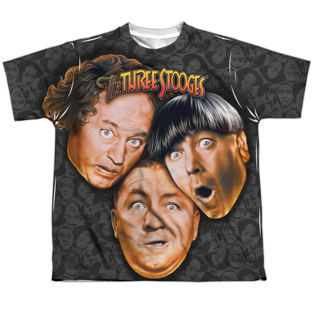 Three Stooges Slapstick Comedic Group Color Heads Big Boys Front Print T-Shirt