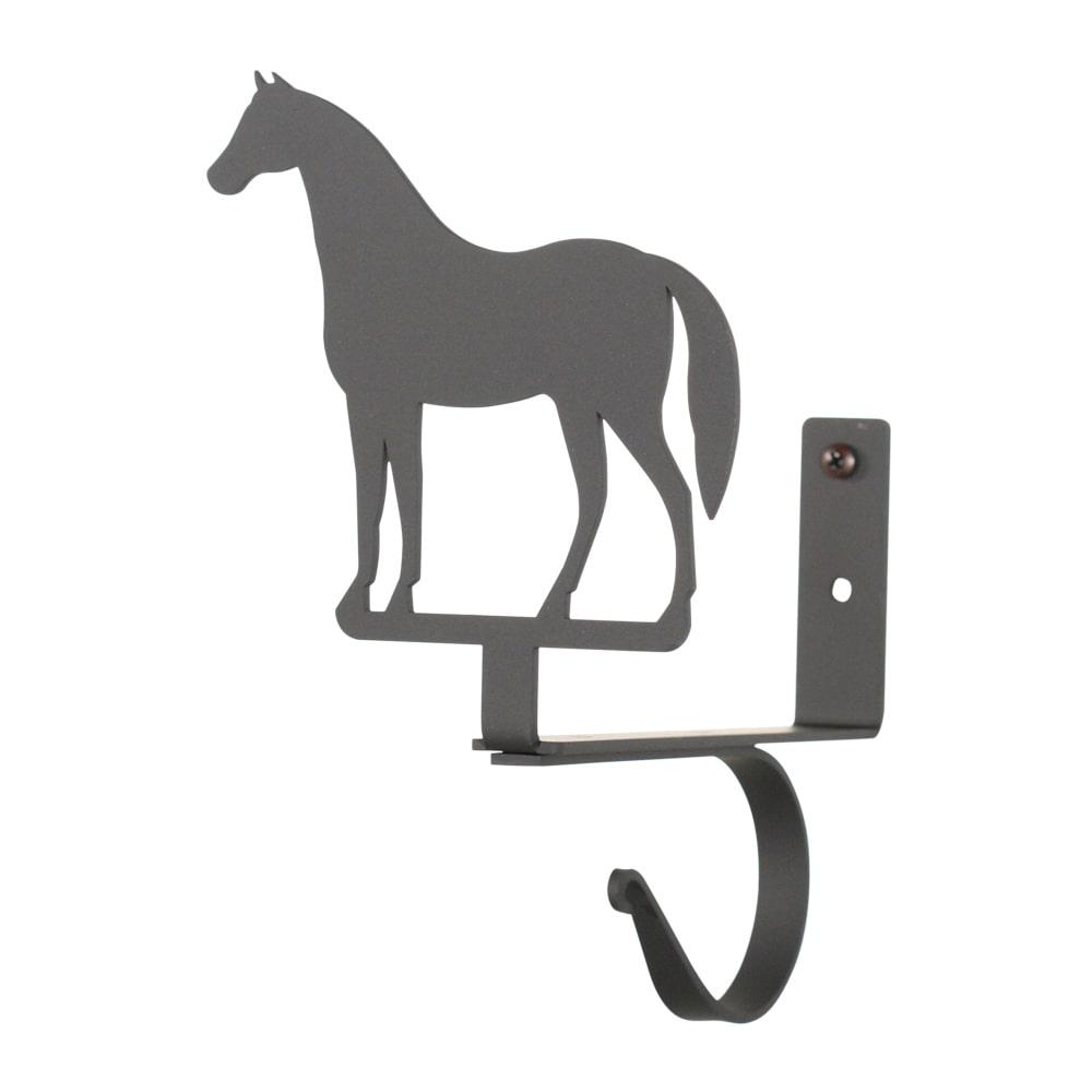 Luxury Home Black Wrought Iron Horse Curtain Rod Shelf Br...