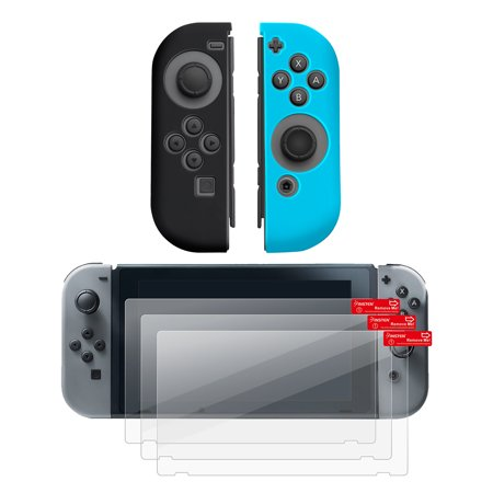 Nintendo Switch Joy-Con case & Screen protector, by Insten (Left BLACK + Right BLUE) Nintendo Switch Joy-Con Cover Anti-Slip Skin + 3-pack LCD Guard For Nintendo Switch Joy Con Left/Right Controller (Left To Right Halloween Story)