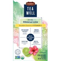 Teawell Organic Hibiscus with Lime Herbal Tea Bags, 16 Count