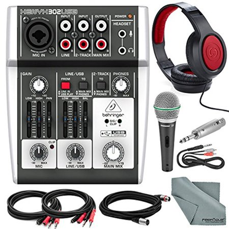 behringer xenyx 302usb 5 input mixer and usb interface platinum bundle w microphone closed. Black Bedroom Furniture Sets. Home Design Ideas
