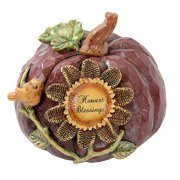 """7"""" Harvest Blessings Thanksgiving Pumpkin Decoration with a Sunflower and Bird"""