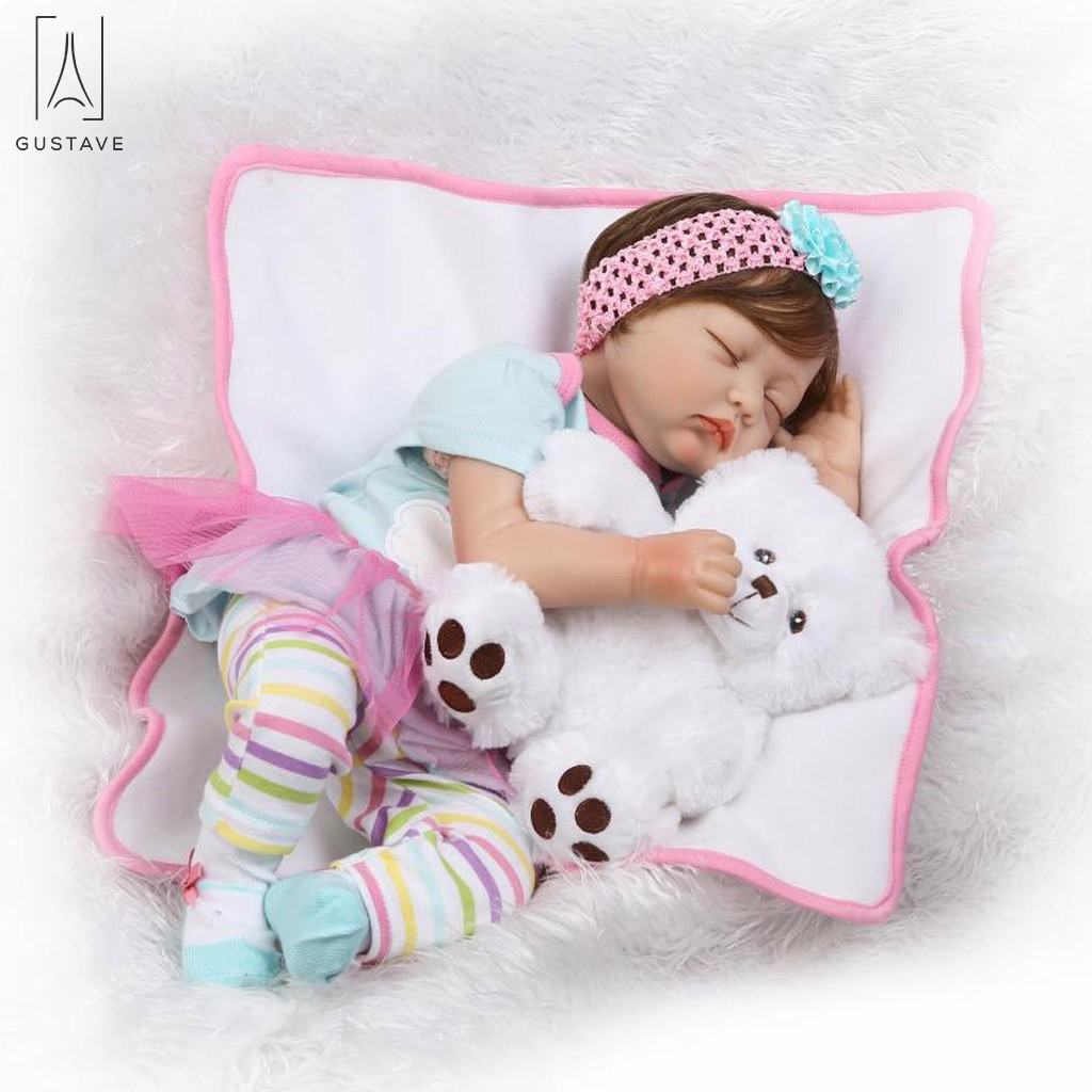 GustaveDesing 22 inch Lifelike Newborn Baby Soft Silicone Doll Girl Figure Toy Sleeping Girl Simulation 55cm Reborn Doll
