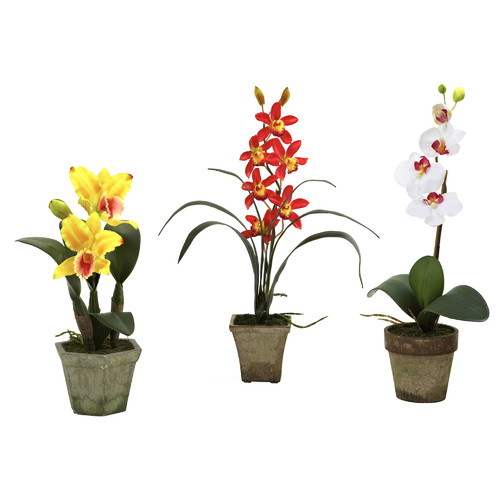 Nearly Natural Potted Orchid Mix (Set of 3)