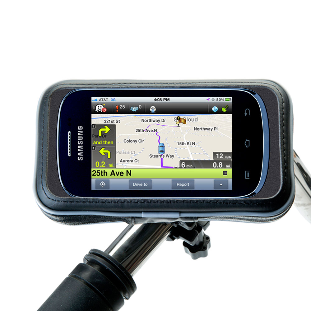 Heavy Duty Weather Resistant Bicycle / Motorcycle Handlebar Mount Holder Designed for the Samsung Galaxy Discover