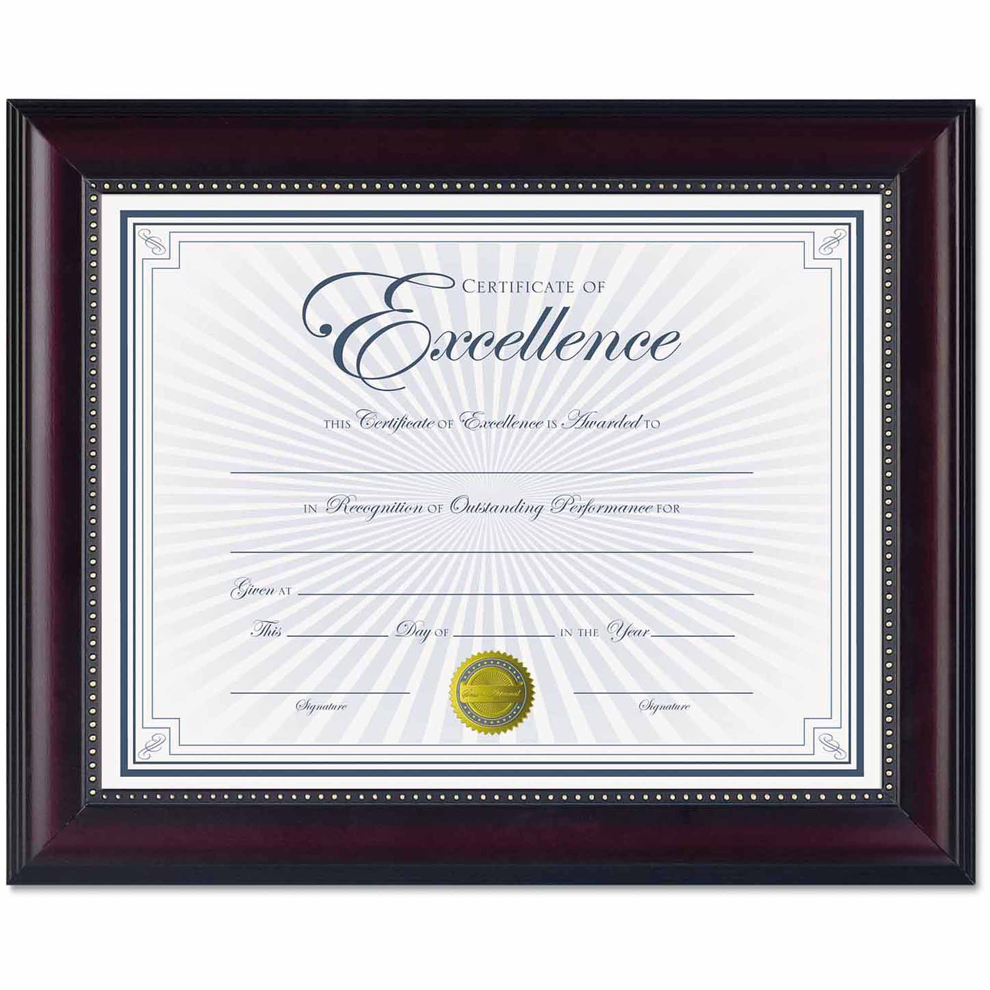 "DAX Prestige Document Frame, Rosewood/Black, Gold Accents, Certificate, 8-1/2"" x 11"""