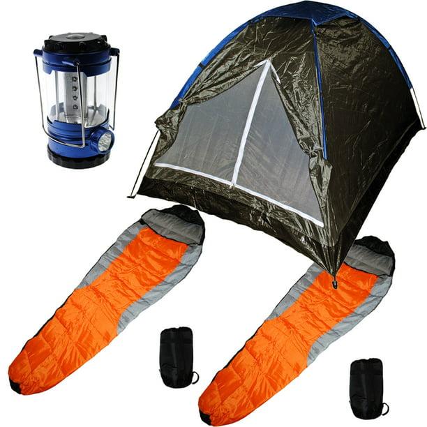 Camping Gear Medium Sized Tent Two Sleeping Bags Led Lantern W Compass Walmart Com Walmart Com