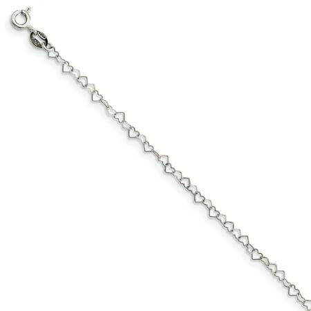 925 Sterling Silver 3.5mm Fancy Heart Link Chain Bracelet - image 1 de 1