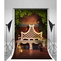 GreenDecor Polyster Fairy Tale Backdrop 5x7ft Bench Lamps Butterfly Green Leaves Marble Floor Photography Background Video Studio Props Little Girl Children Baby Kids Portraits