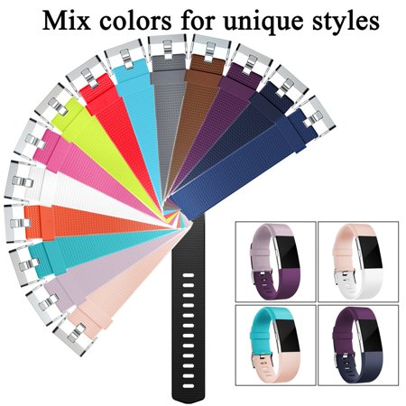 10 Pack Compatible with Fitbit Charge 2 Bands, Silicone Replacement Strap with Secure Metal Clasp for Fitbit Charge 2 Women Men - image 5 de 9