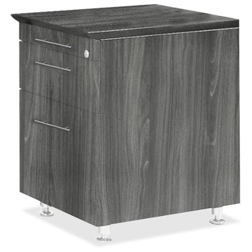 "Mayline Medina Series Return Pedestal, P/b/f - 18"" Width X 15"" Depth X 26"" Height - 3 X Pencil, Box, File Drawer[s] - Beveled Edge - Steel, Polyvinyl Chloride [pvc] - Gray, Laminate, Silver (mnbfplgs)"