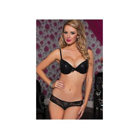 Black Crotchless Lace Panty 9749 Seven 'til Midnight Black - 7 Til Midnight Plus Size