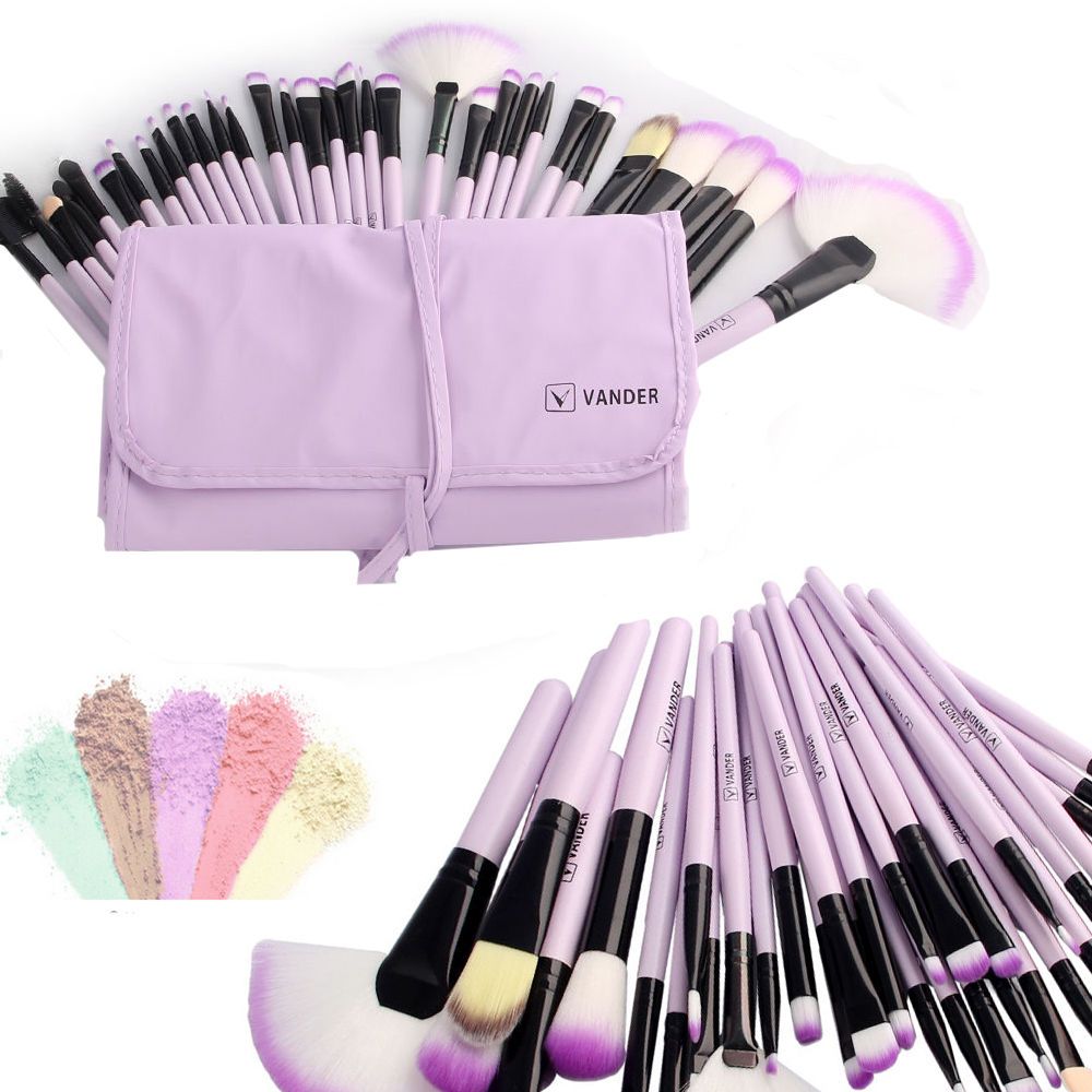 Vander Purple 32pc Pro Cosmetic Eyebrow Foundation Eyeliner Shadow Makeup Brush Set Kit