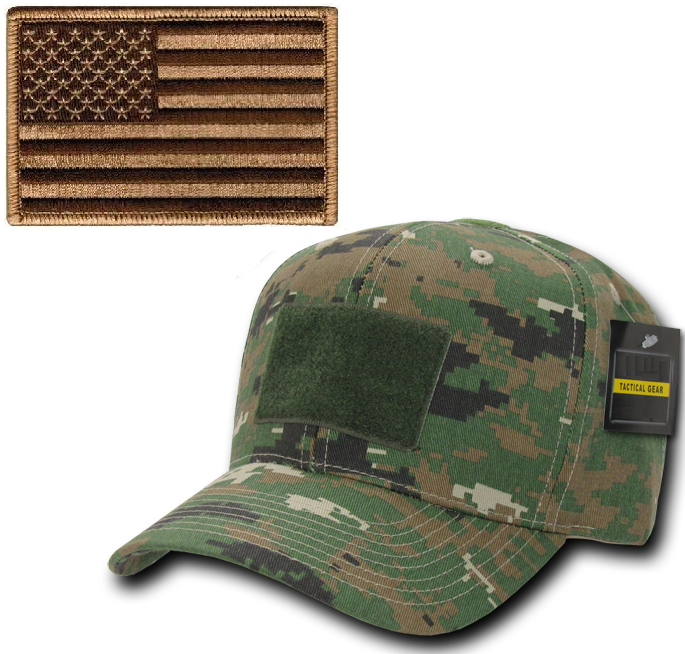 Ultimate Arms Gear Tactical Military Marpat Woodland Digital Camo Camouflage Hat Cap Ballcap Headwear Adjustable Hook & Loop + Coyote Tan USA American Flag Patch
