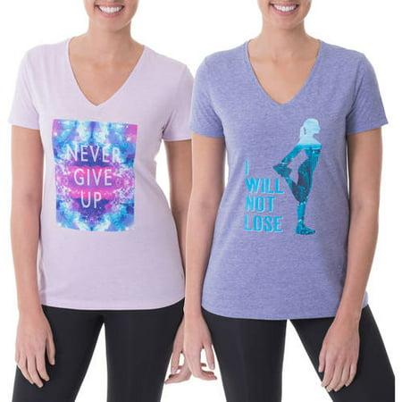 511b8934b Danskin Now - Women's Active Fitspiration V-Neck Graphic T-Shirt, 2 Pack  Value Bundle - Walmart.com