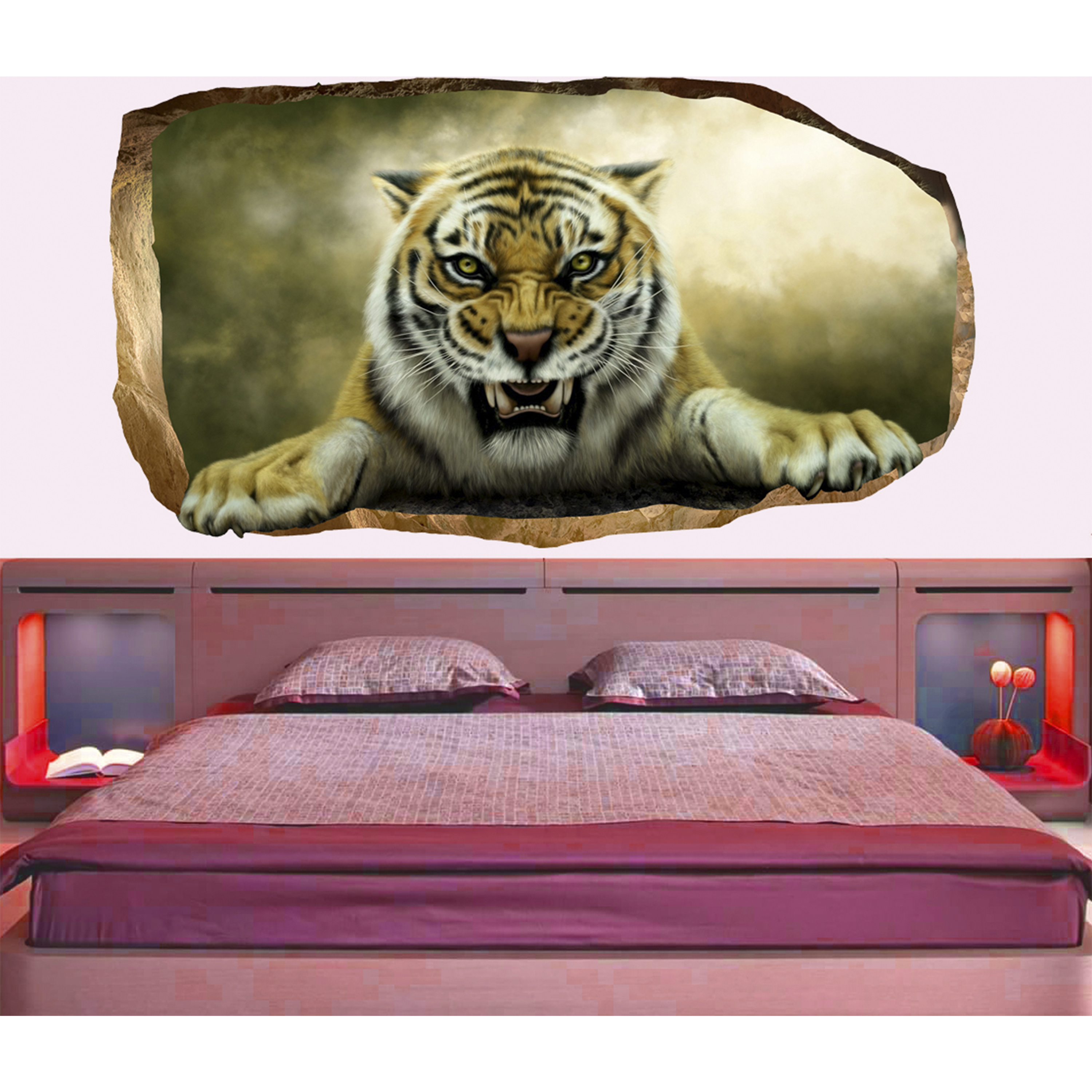 Startonight 3D Mural Wall Art Photo Decor Tiger in Bedroom Amazing Dual View Surprise Wall Mural Wallpaper for Bedroom Animals Wall Paper Art Gift Large 47.24 '' By 86.61 ''