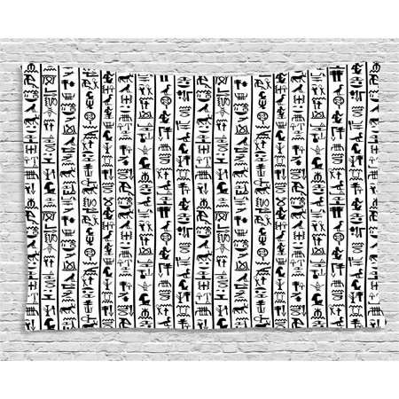 Egyptian Tapestry, Vertical Borders with Hieroglyphics Alphabet Ancient  Language Symbols Cultural, Wall Hanging for Bedroom Living Room Dorm Decor,