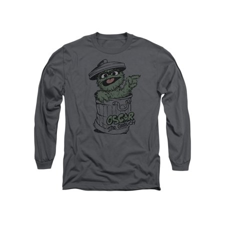 Sesame Street Kid's TV Show Retro Oscar The Grouch Adult Long Sleeve T-Shirt