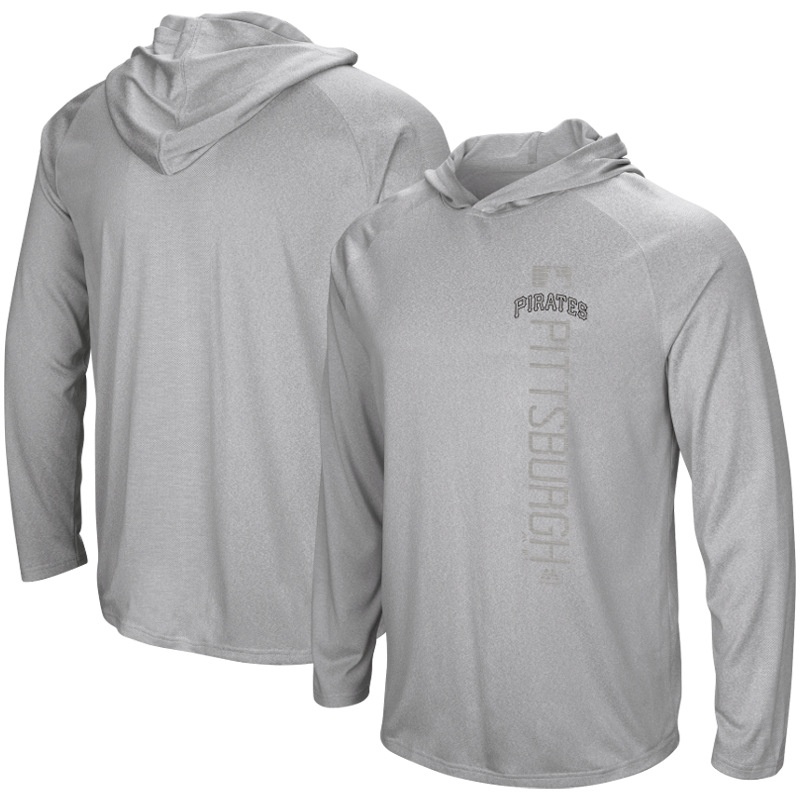 Pittsburgh Pirates Majestic Authentic Collection Ultra-Light Hooded Long Sleeve T-Shirt - Heathered Gray